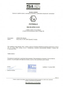 Certifikat - SIQ Disni ventil